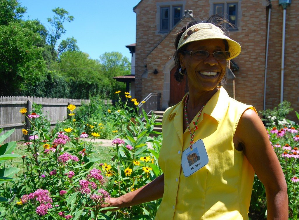 Barbara Waller by the native plant garden of First Baptist Church (Waukegan, Illinois)