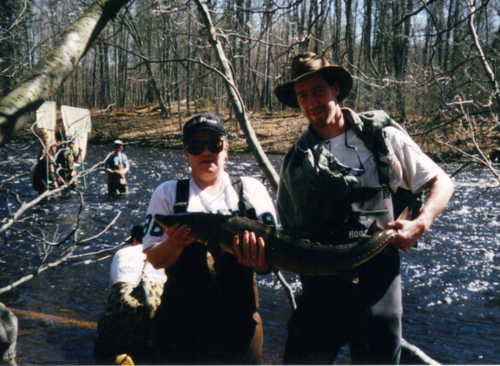 Marty Holtgreen and another person hold a lake sturgeon fish while standing in the Big Manistee River.