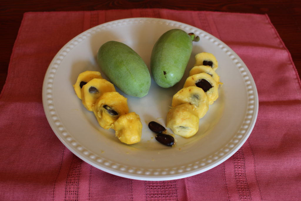 A plate with cross sections of pawpaws on display as well as two uncut pawpaws.